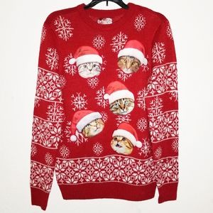 Santa Claus Hat On Cat Ugly Christmas Sweater